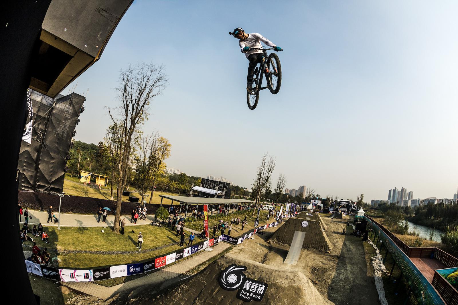 Lukas Knoph spots his landing.