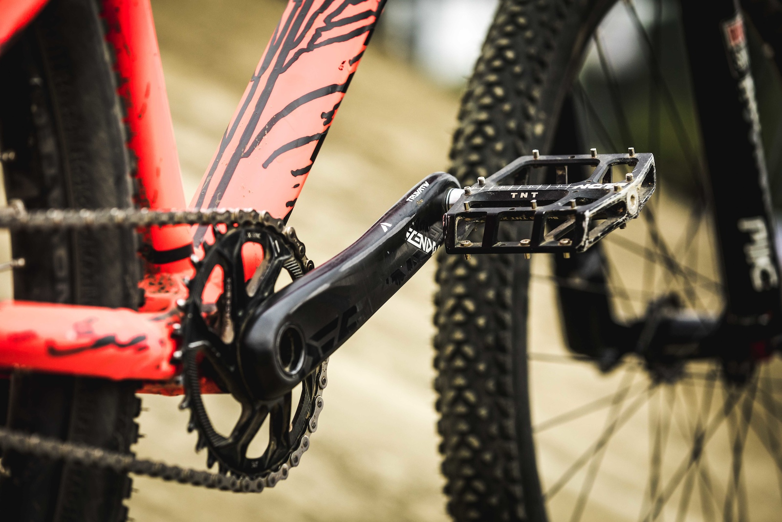 The Truvativ Descentant crankset aids the pedal power while NC-17 pedals keep his feet glued where they need to be.