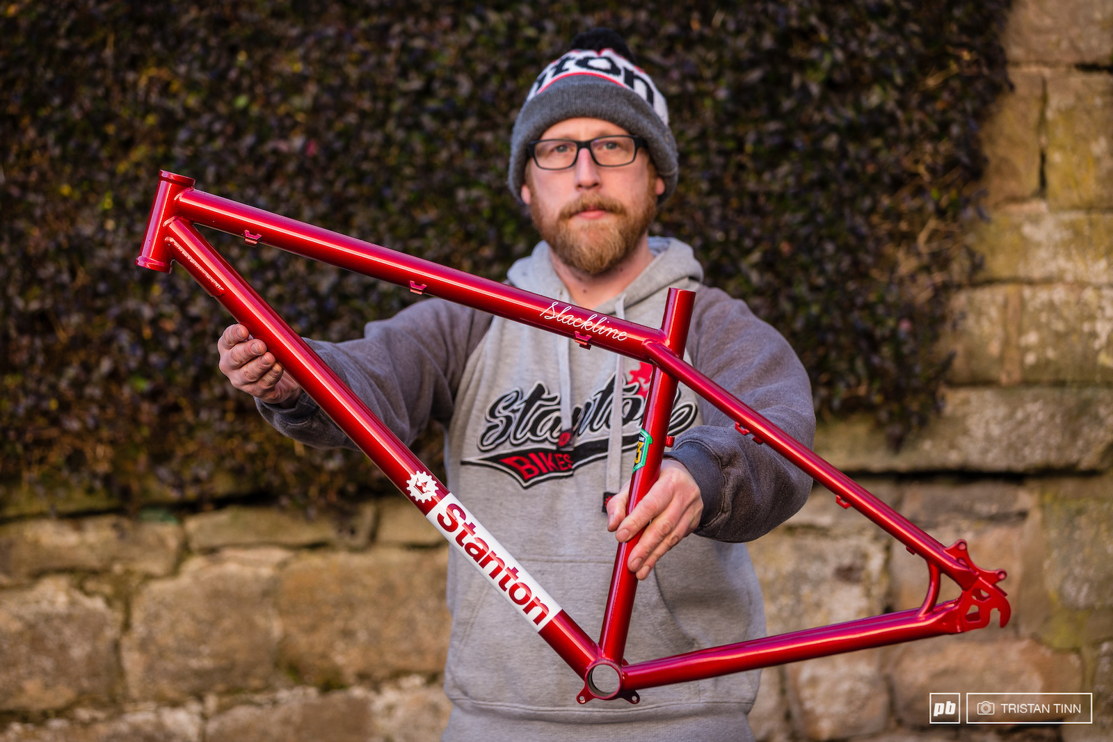 Dan proudly holds out the Slackline which was sent to Dirt being throned 39 Best Hardtail Frame 39 of the year