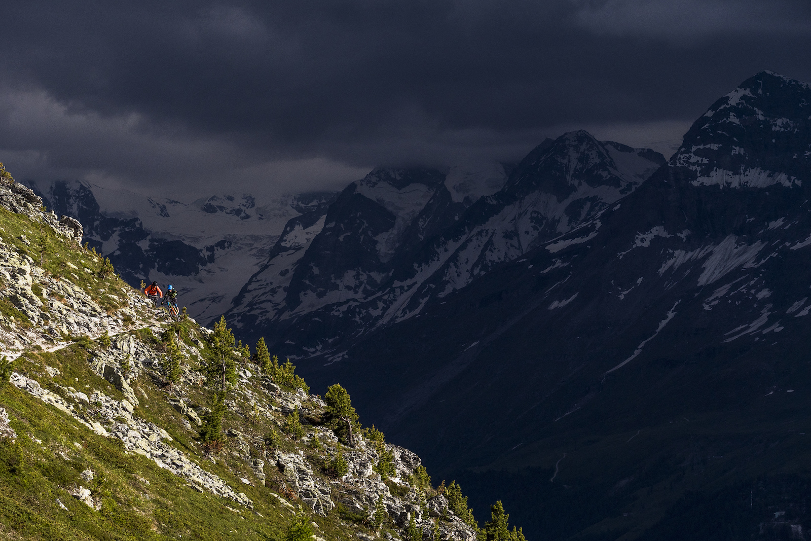 Yann and Ludo on a late lap out from the Hotel Weisshorn in the Val d 39 Anniviers.