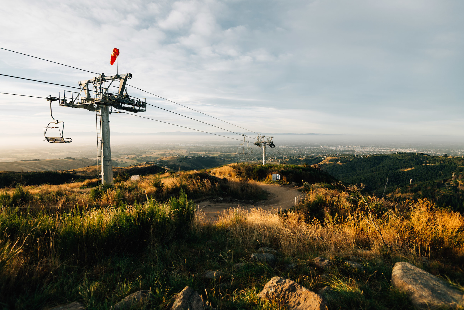 The view out to the city from the top station of the chairlift.