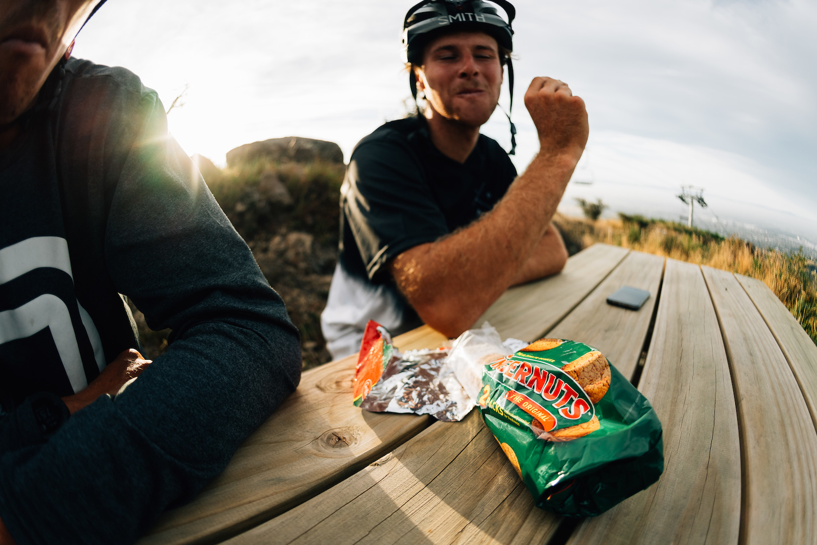 A well situated picnic table at the top provides the best stop for a bikkie with a view.