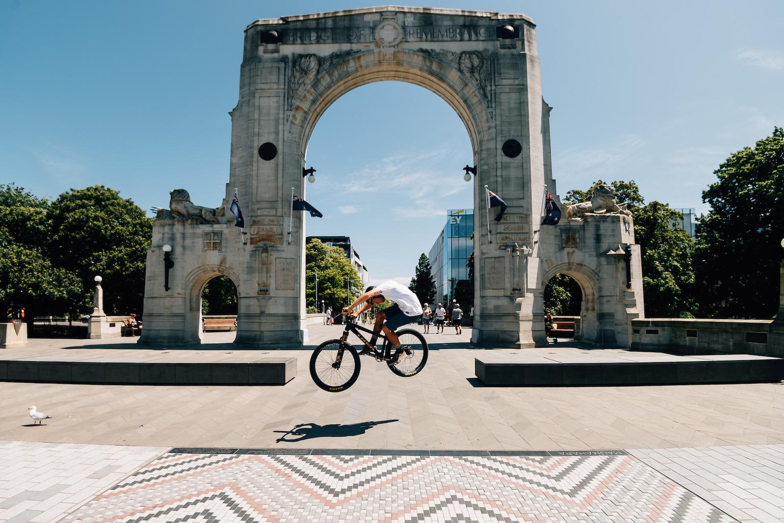 Iconic Christchurch spot the Bridge of Remembrance.
