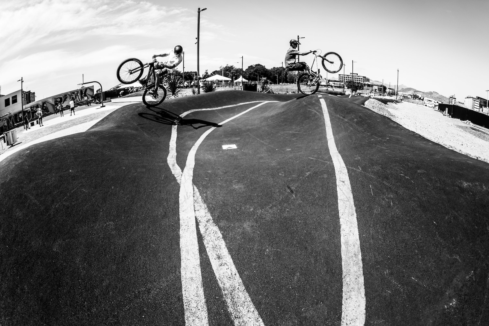 The new pump track in town proves great for a jib session.