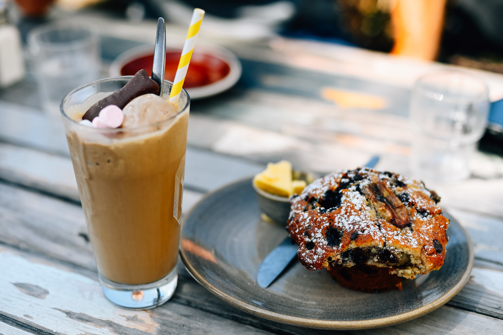 As for the rest of us Iced Coffee over ice cream with a mega muffin. The body is a temple.