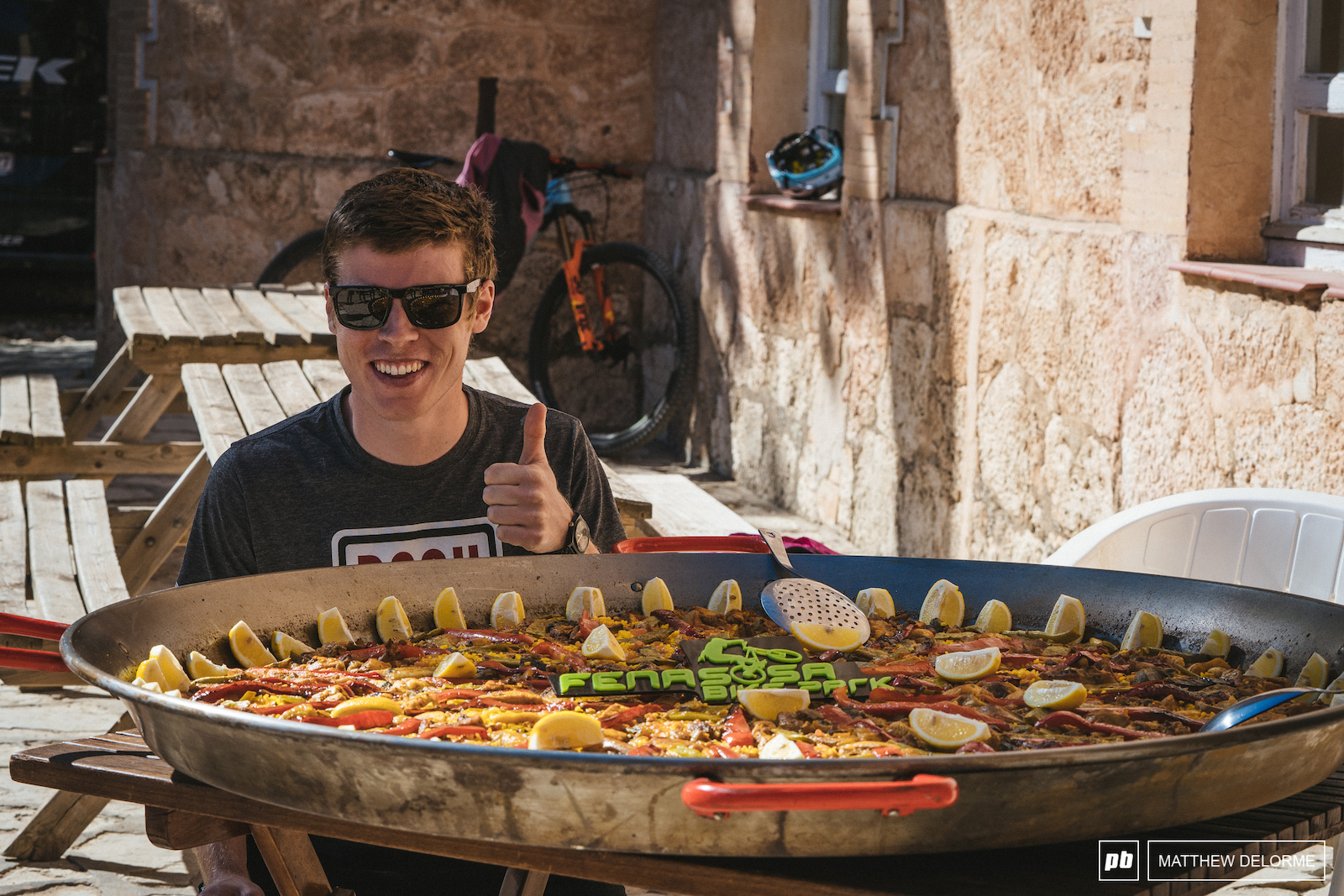 Anton could probably fit in that Paella pan.
