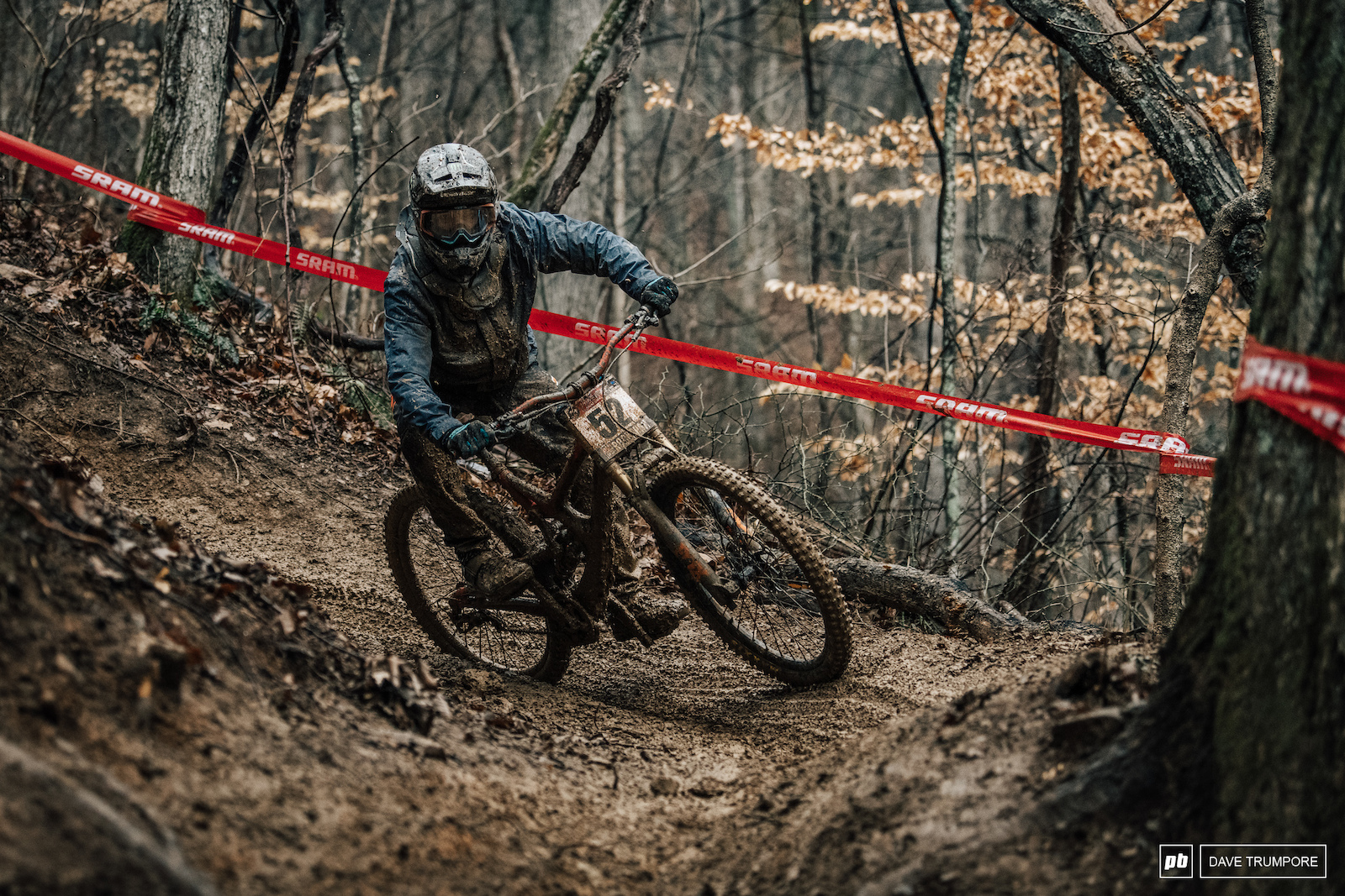 Titus Nicholson tries to keep speed through the steep and slippery switchbacks.