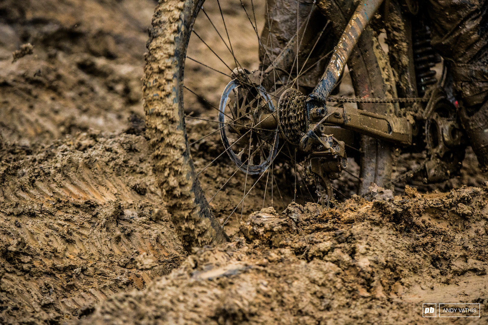 Derailleur deep ruts were becoming a problem as practice wore on.
