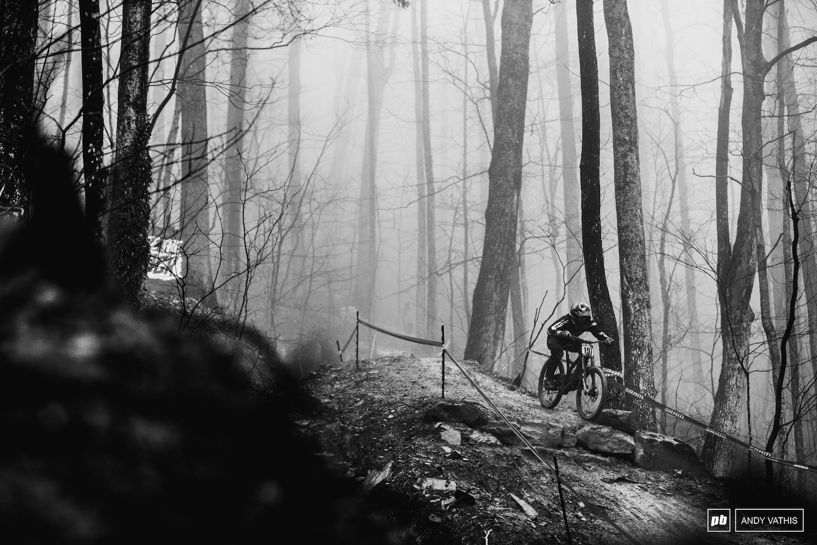 The fog lingered in the woods all day long but at least the rain held up until the last few riders down.