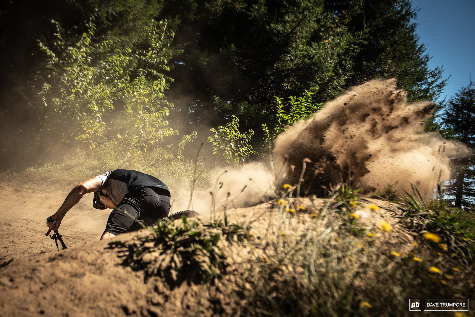 Cam Mackenzie dusting off one of the berms on stage 5.
