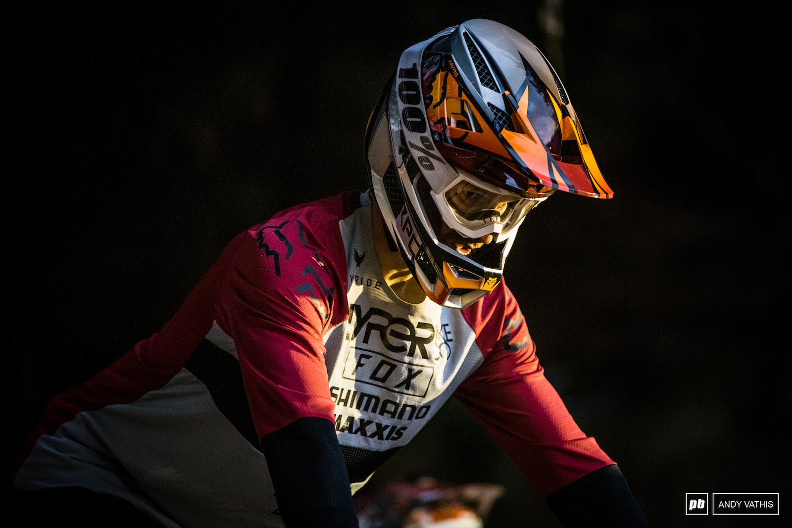 Bas Van Steenbergen fresh of the DH bike and onto the chainless rig.