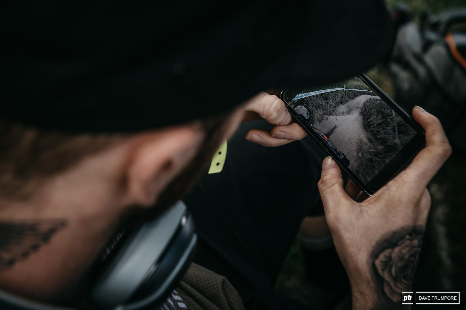 Last minute helmet cam reviews before stage 1 for Lewis Buchanan.