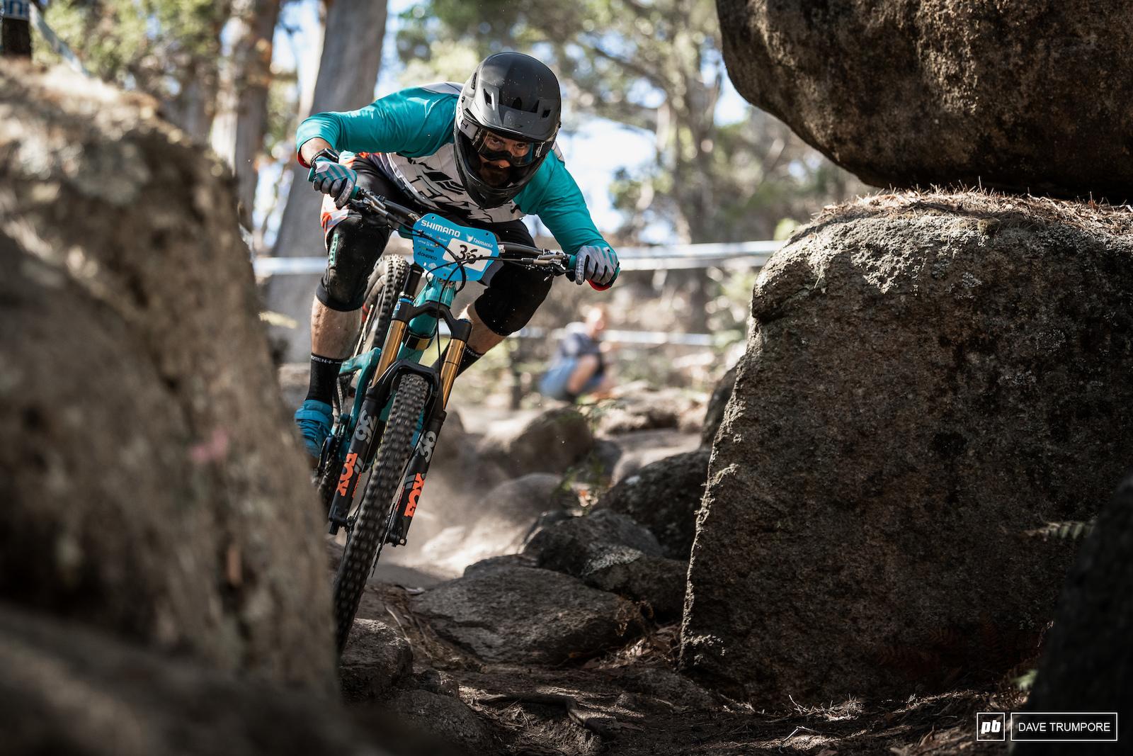 Shawn Neer feeling more at home ion the rocks of Tasmania than the roots of Rotorua.
