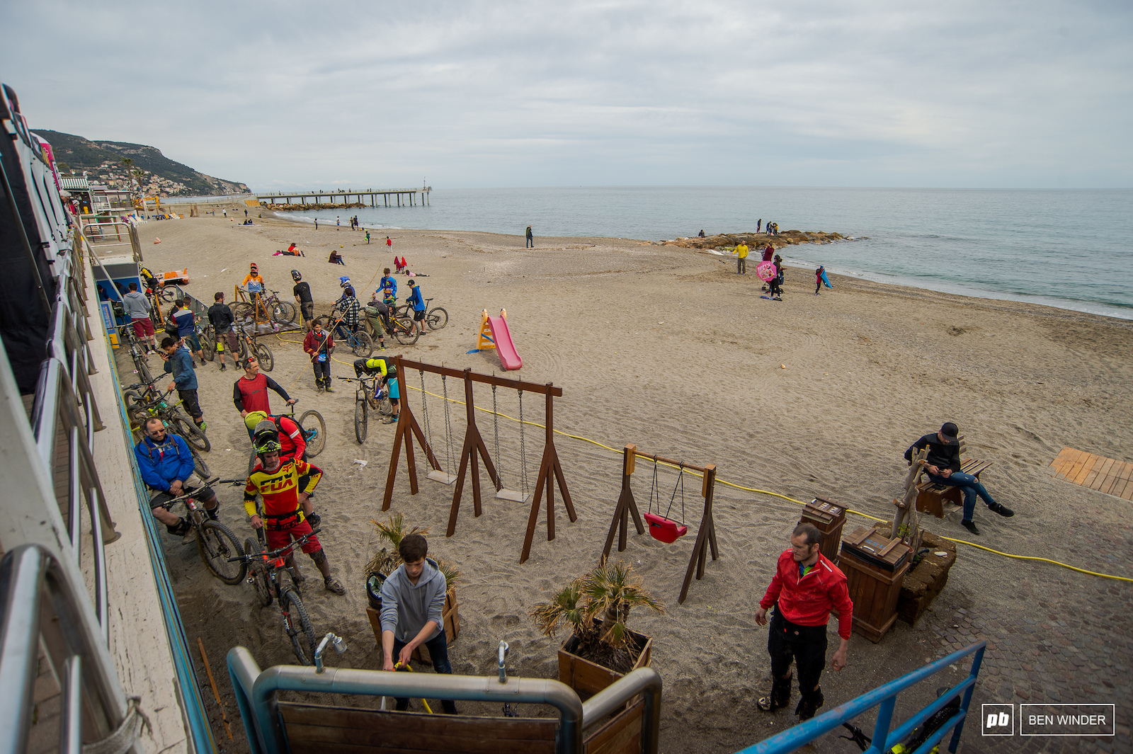 A bike wash on the beach makes a nice change to the corner of a car park.