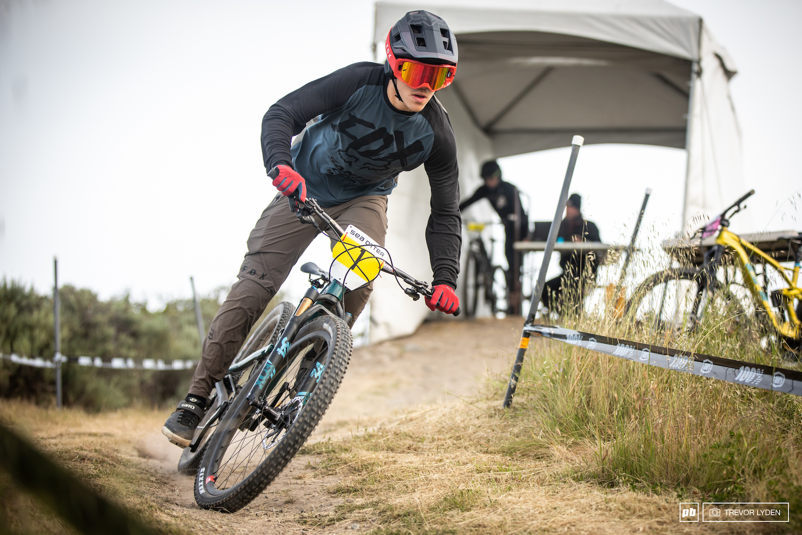 The first rider on the course