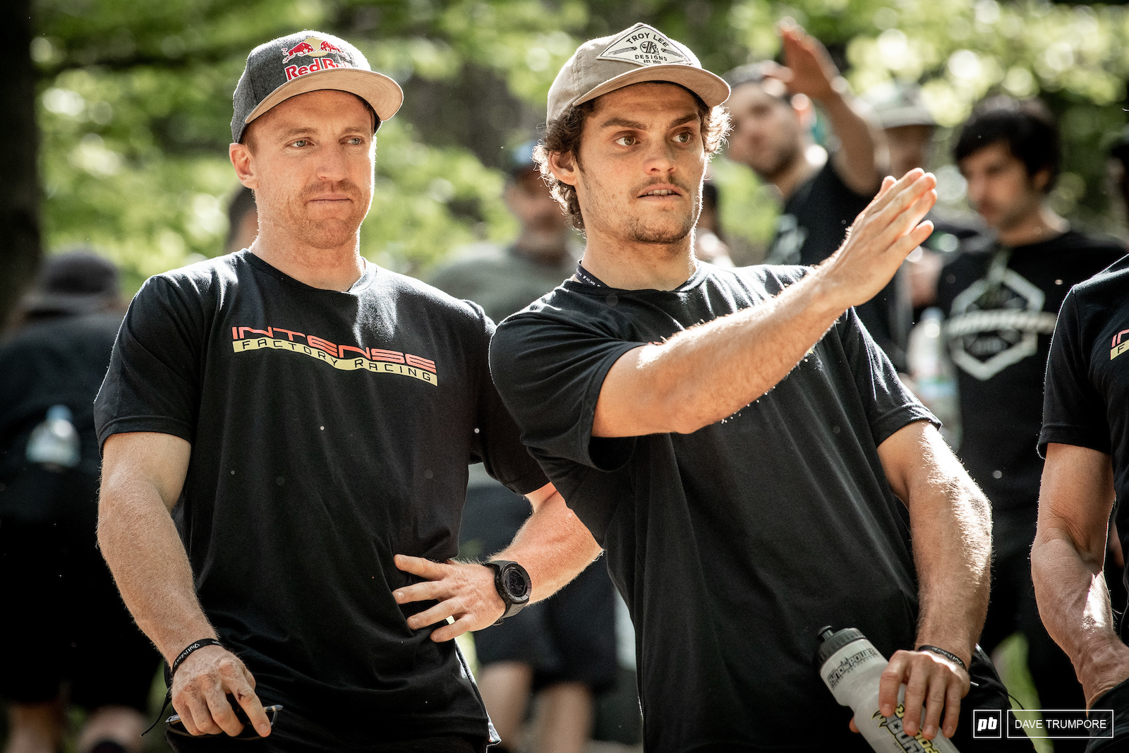Aaron Gwin and his new teammate Jack Moir in the rock garden.