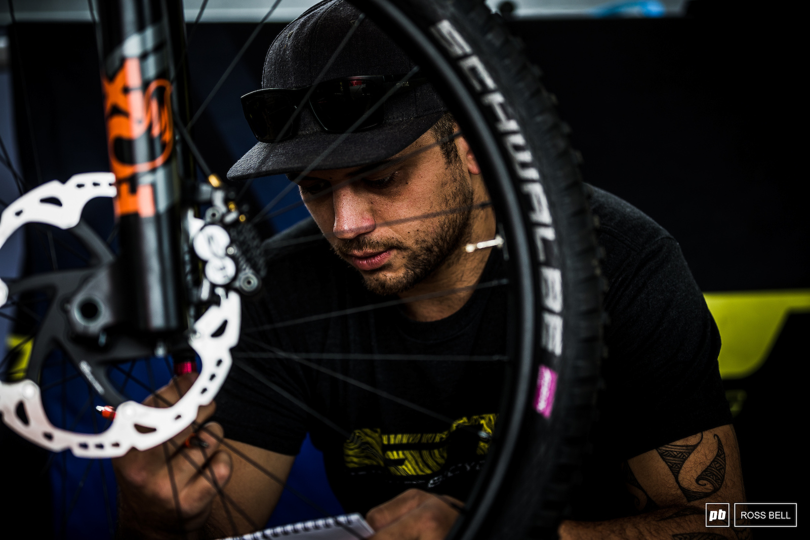 Matteo Nati counting clicks in the GT pits. Having been Jerome Clementz s side kick at Cannondale he s now made the switch to GT taking on both EWS and DH duties.