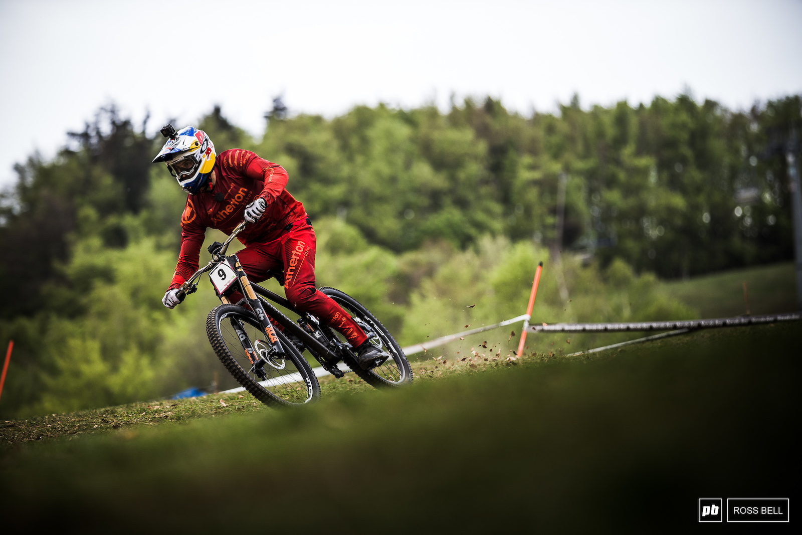 First man on track this afternoon. Gee Atherton getting to grips with the course preview.