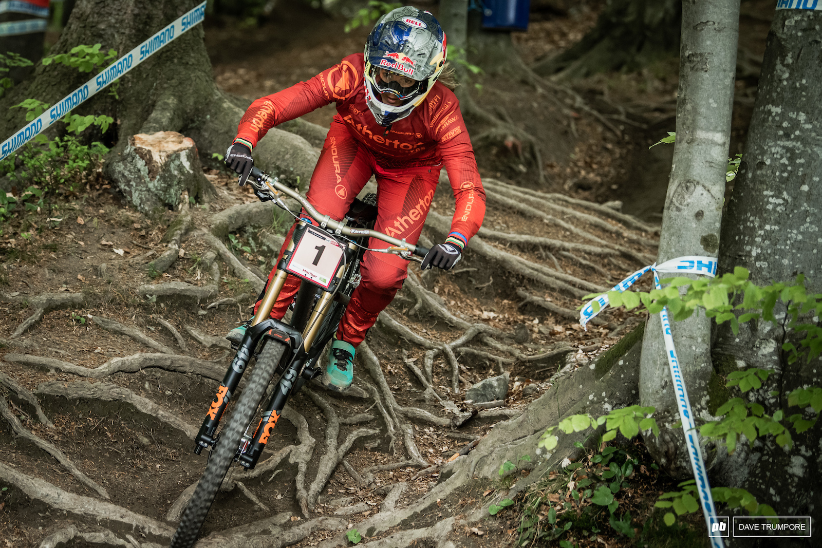Rachel Atherton making quick work of some nasty looking roots. They stayed dry today but that may not be the case for qualifying or Sunday s final.