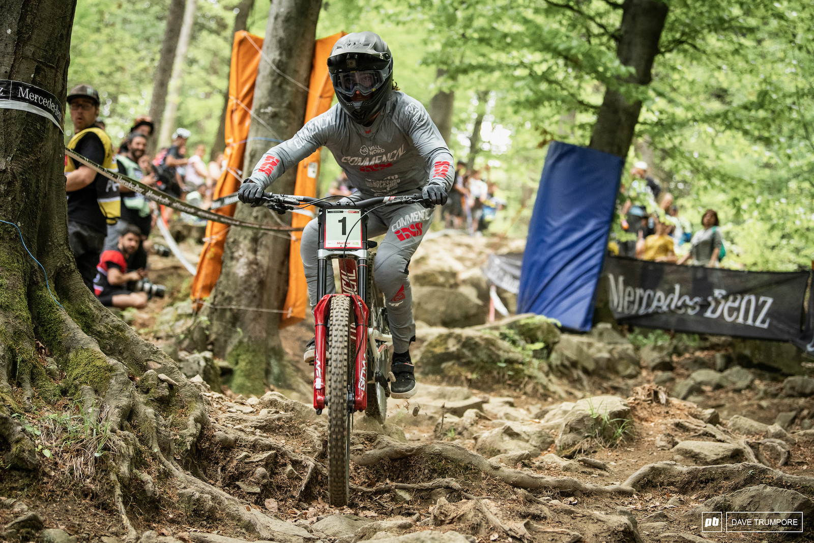 Defending junior champ Thibaut Daprela was one of the fastest through the rock garden out of anyone