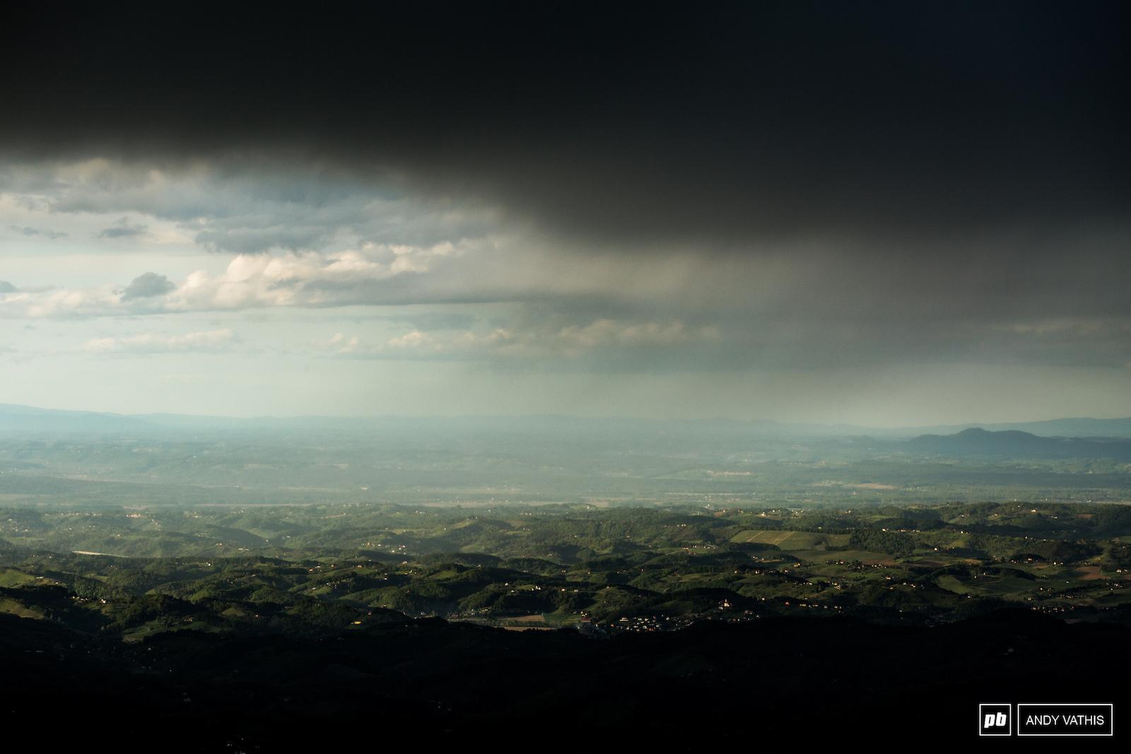 Post-shower golden hour over the Slovenian landscape.