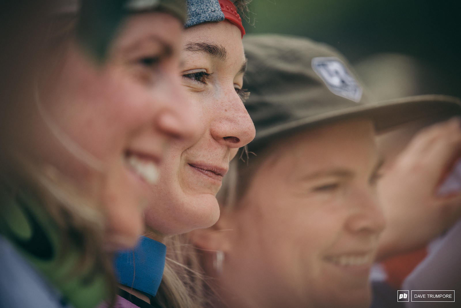 The fastest woman in the world Tahnee Seagrave flanked by Rachel Atherton and Tracey Hannah on the podium