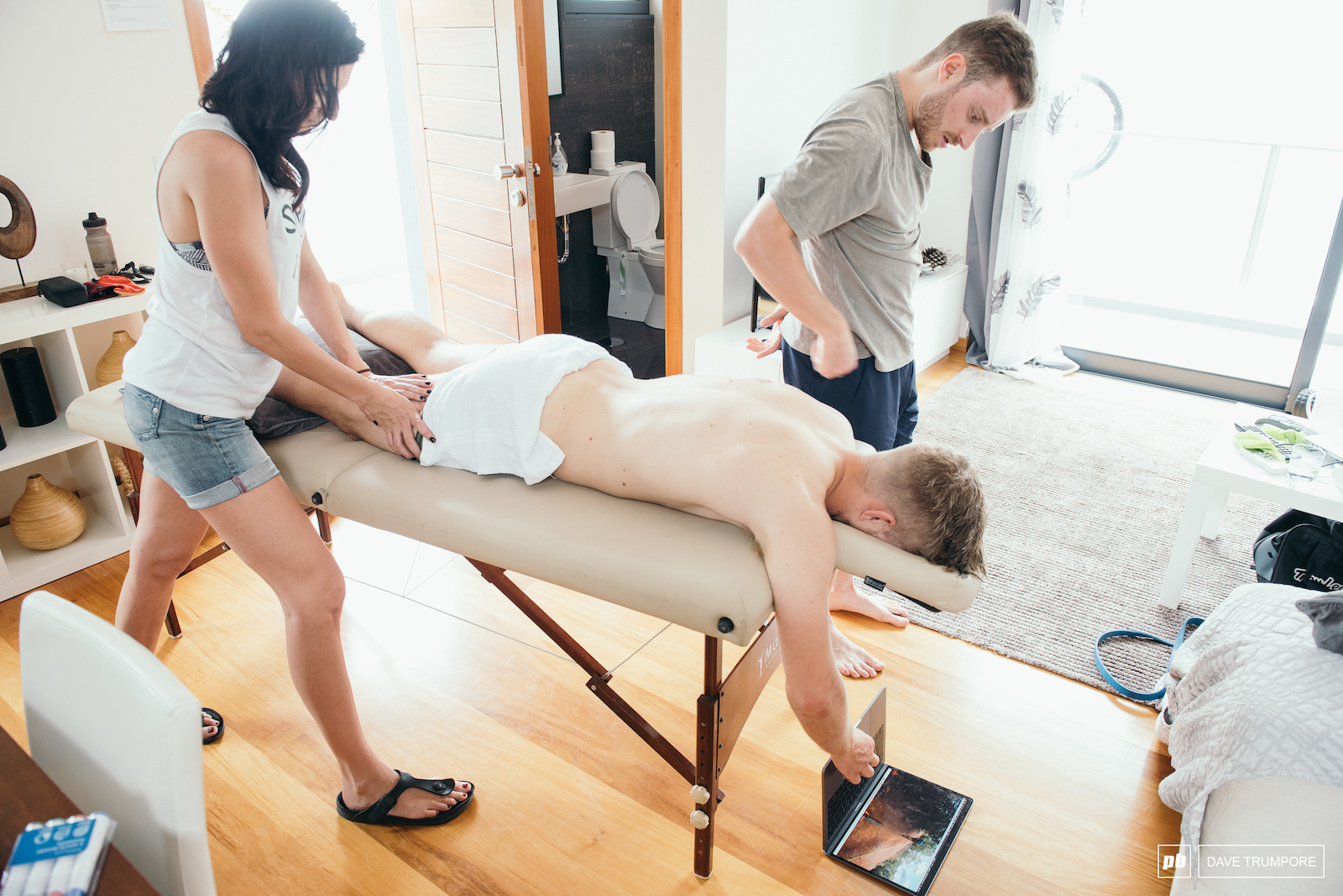 Remi Gauvin multi-tasking by watching helmet cam footage during his evening physio session