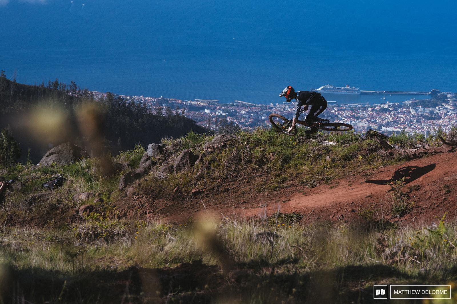 David McMillan lays it flat over Funchal.
