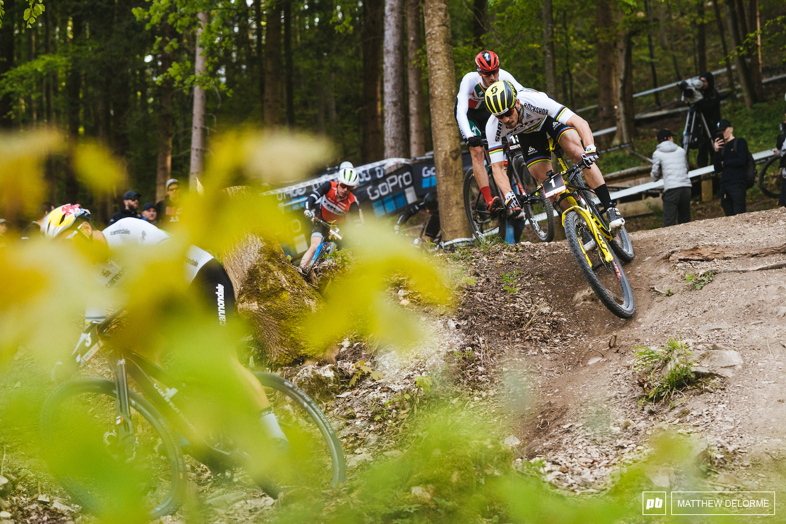Nino Schurter took a turn at the front and ended his twenty minutes in third.