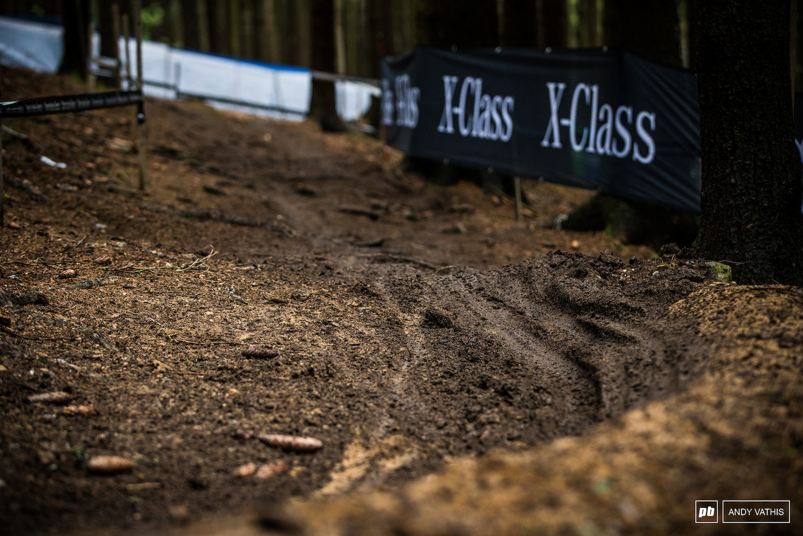 Berms in the lower part of the track are still soft from all the rain earlier in the week.