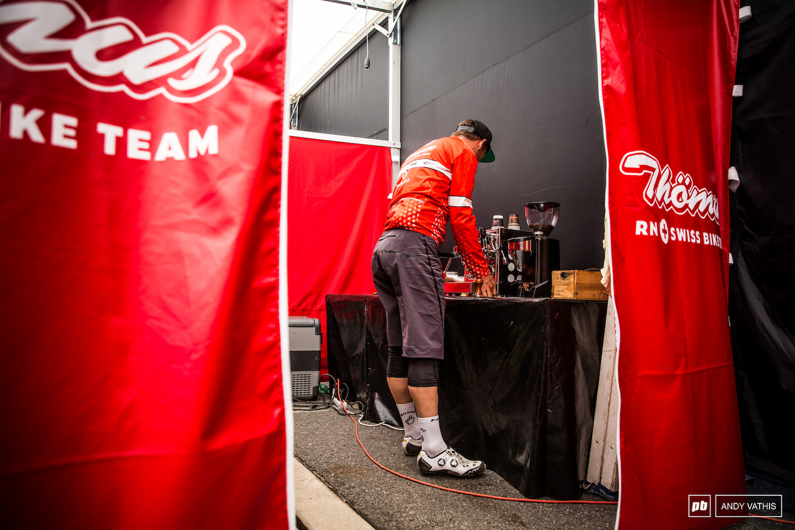 Rumor has it that the Th mas team has the best coffee in the XC circus. I mean they have a dedicated coffee room in the pits This was espresso no. 8 for us but the quality still came through.