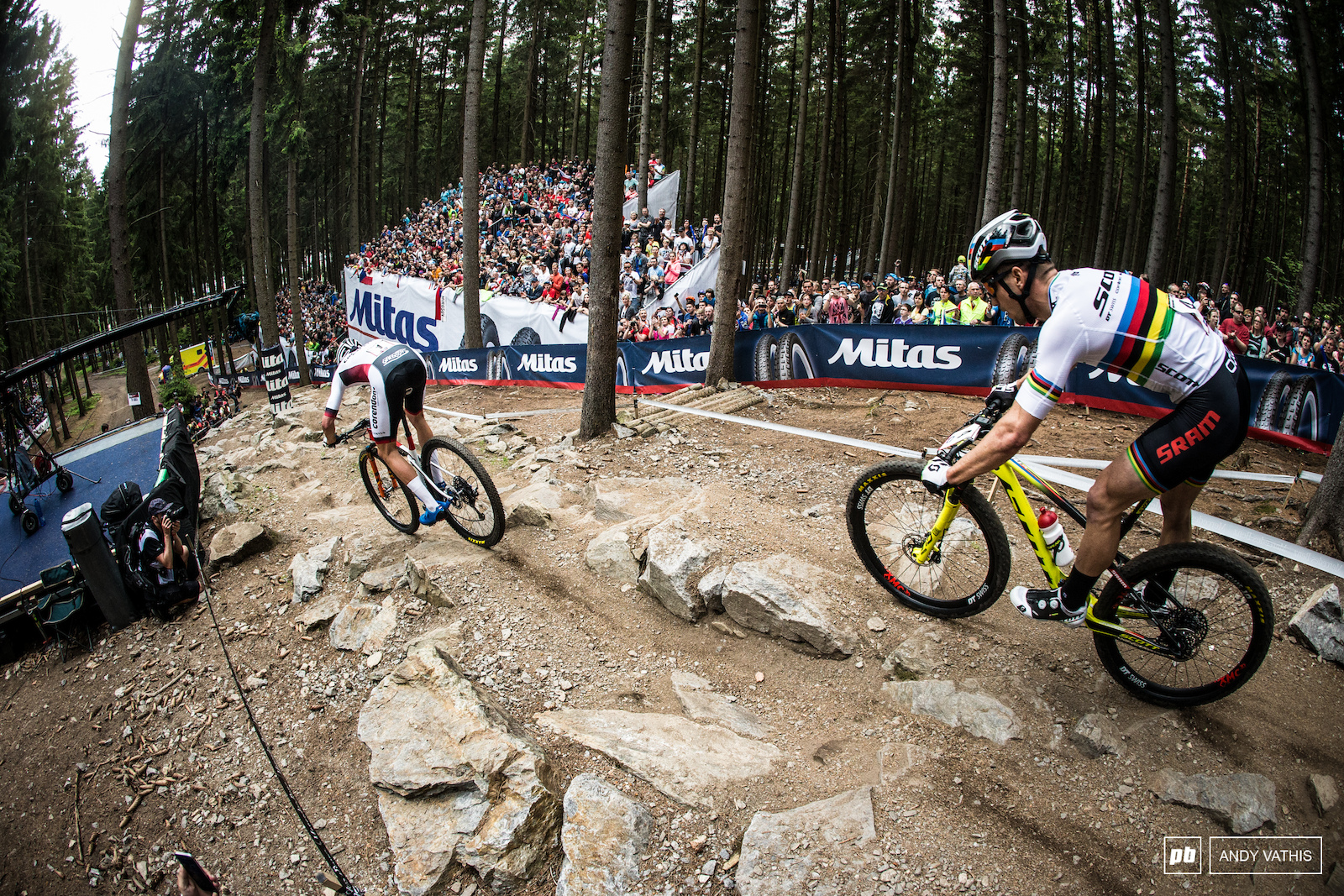 Schurter made sure to keep Van Der Poel in his sights.