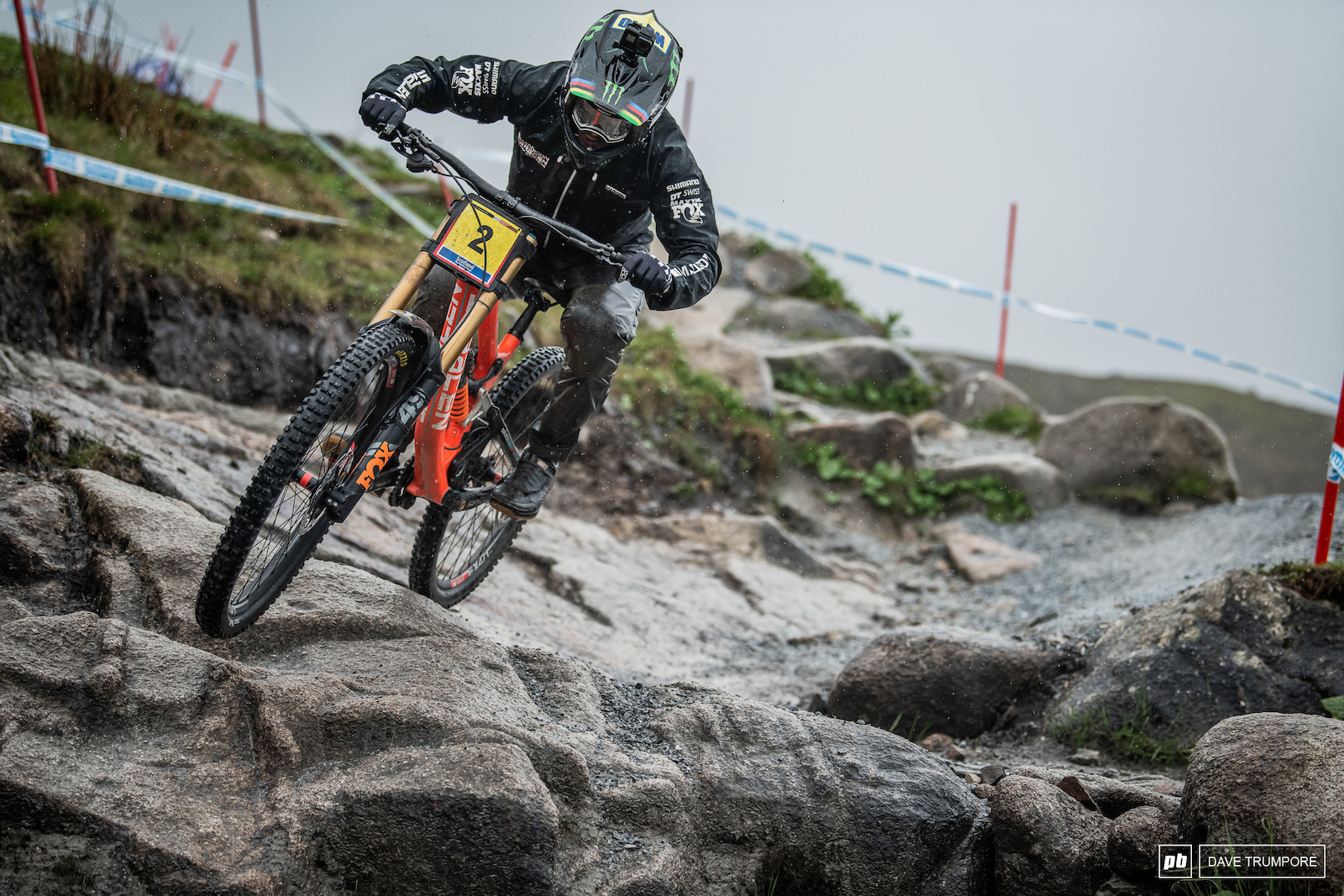 Danny Hart finding grip on the wet rocks