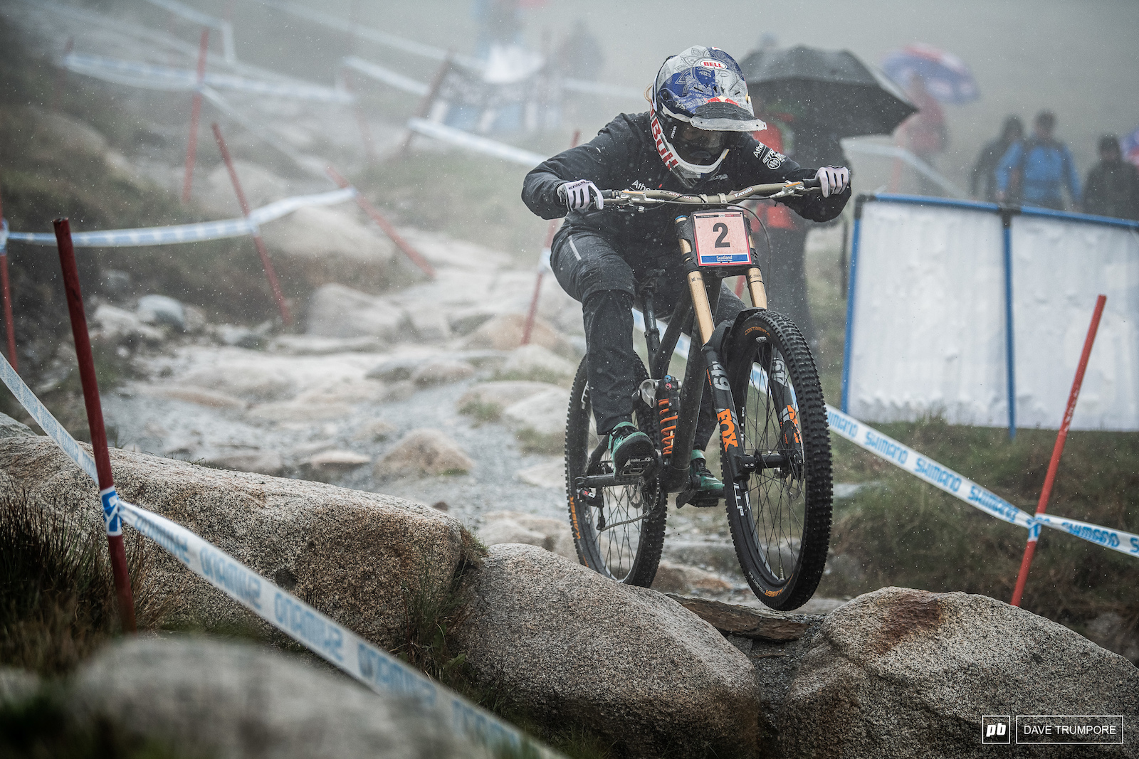 Rachel Atherton smashing rocks and raindrops in Fort William.