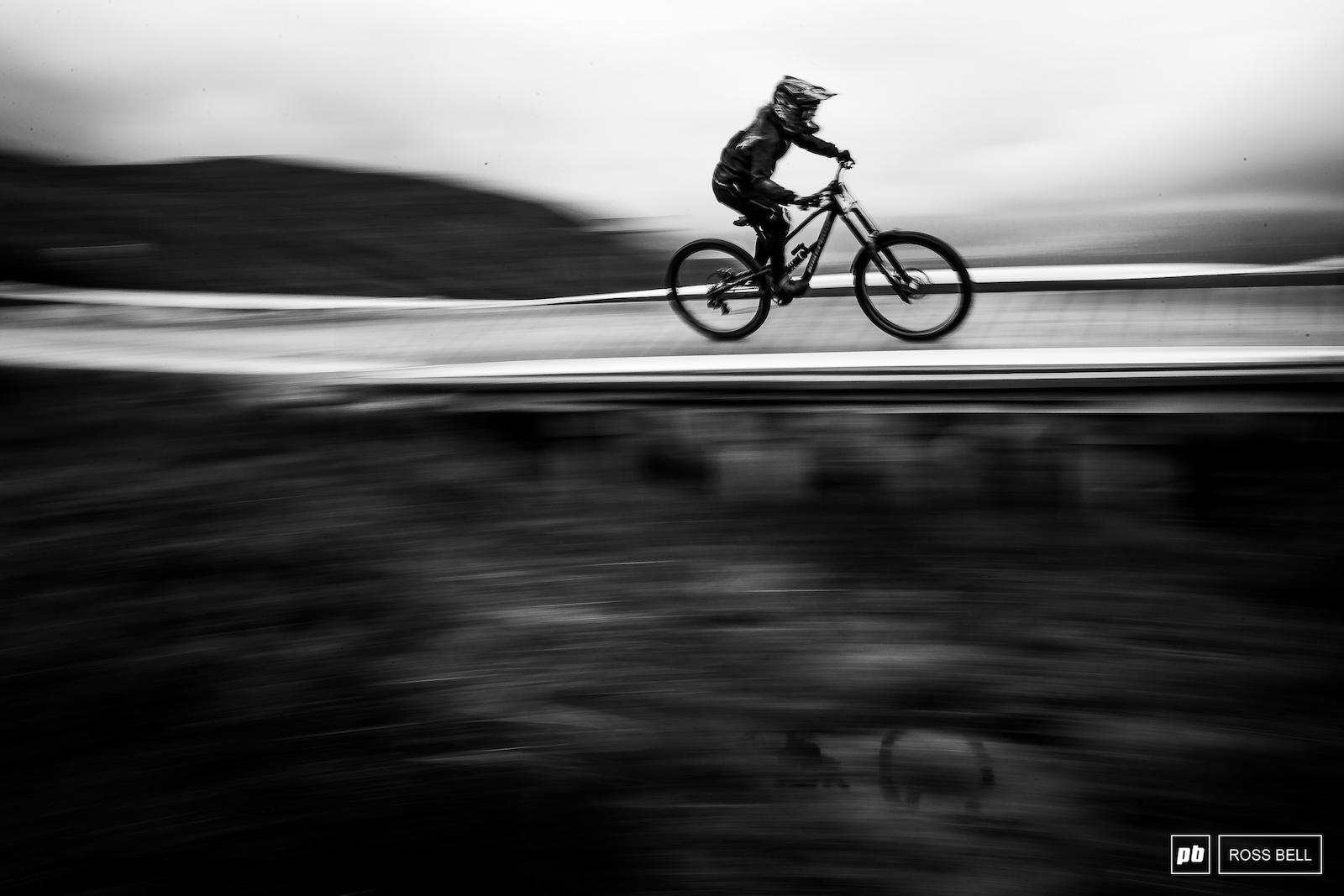 Sandra Rubesam speeds above some rather dreich Scottish bog.