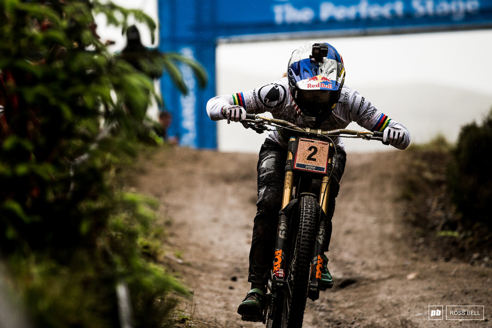 Rachel Atherton charging hard to the line to take her first win aboard her own bike brand in Fort William last season.