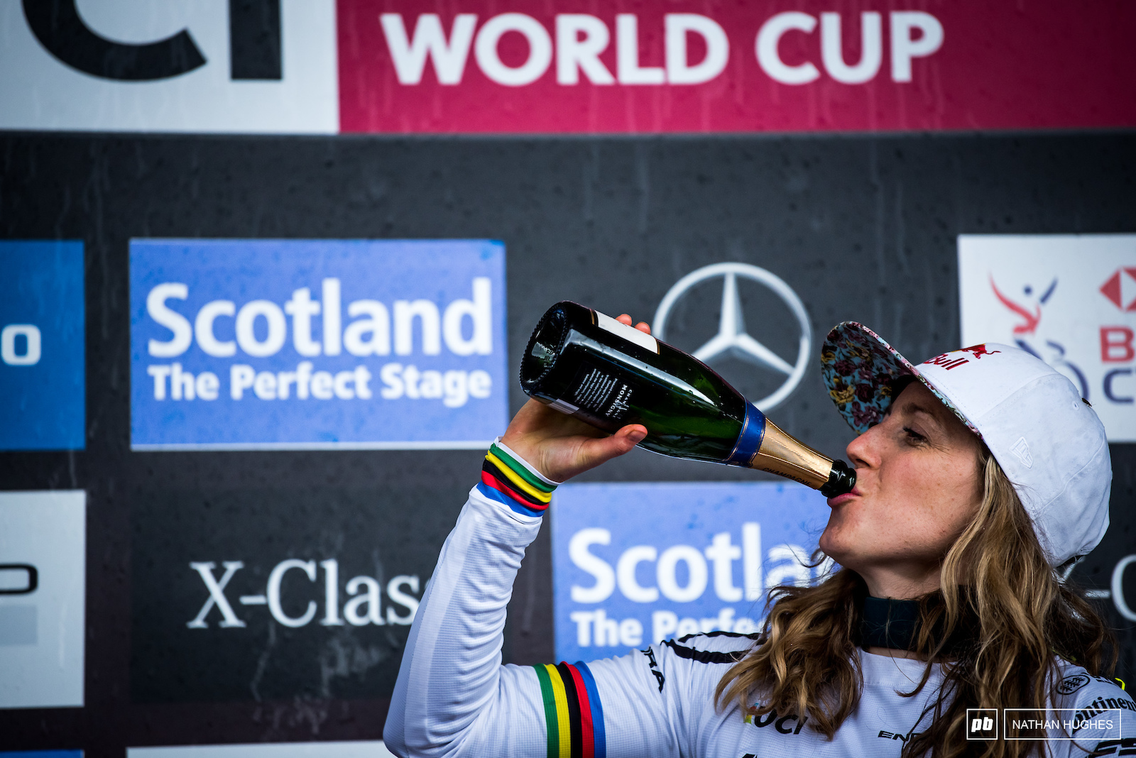 Rachel Atherton embibes just one more bottle of Scottish champers.