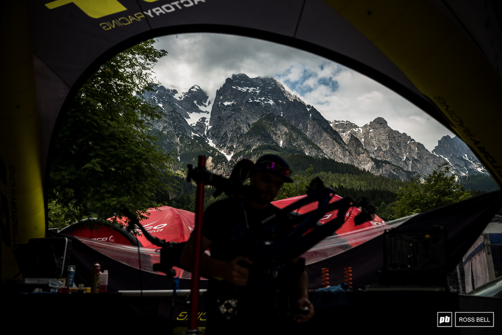 The mountains looming large behind Matteo Nati as he gets to work on a lengthy rebuild thanks to the moisture of Fort Bill.