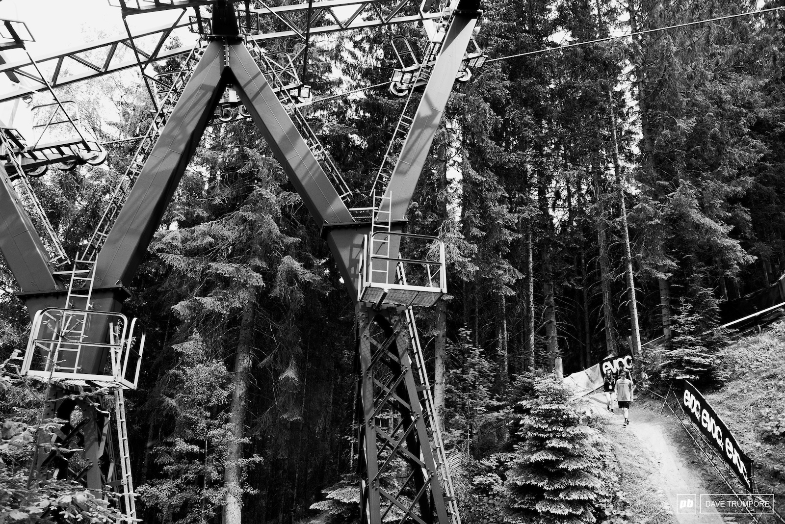 The bottom woods is the only time the track runs under the gondola and the only time riders can survey lines from above during practice.