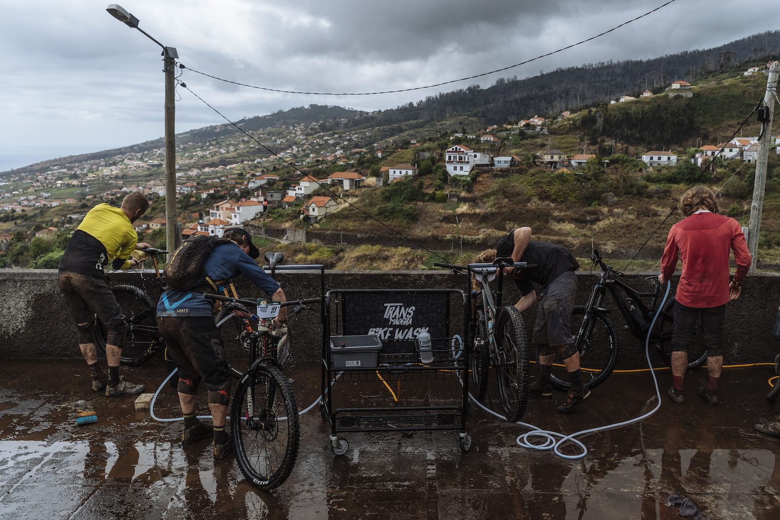Bike wash with a view.