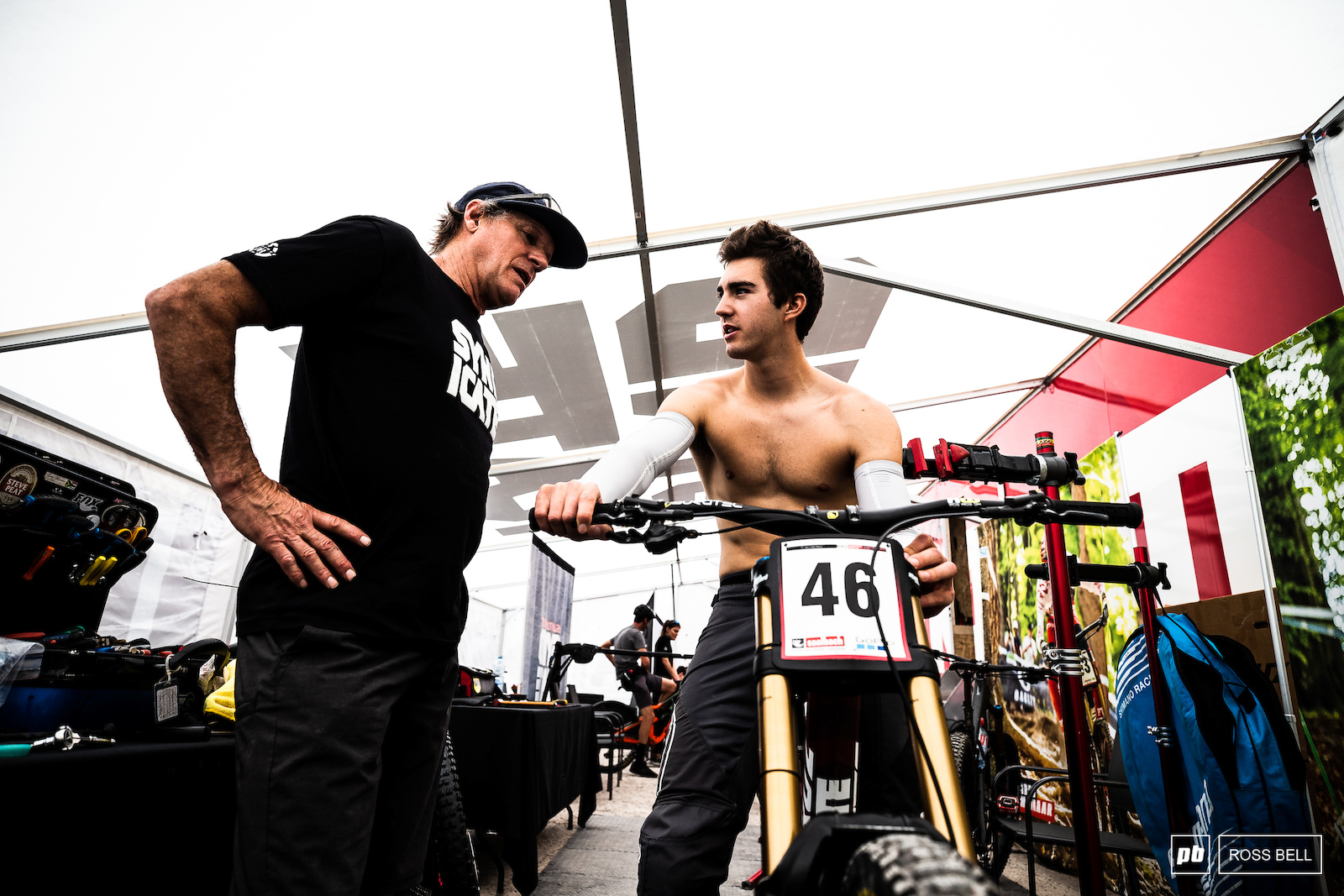 Luca Shaw and mechanic Dougy getting the V10 dialled in for first runs.
