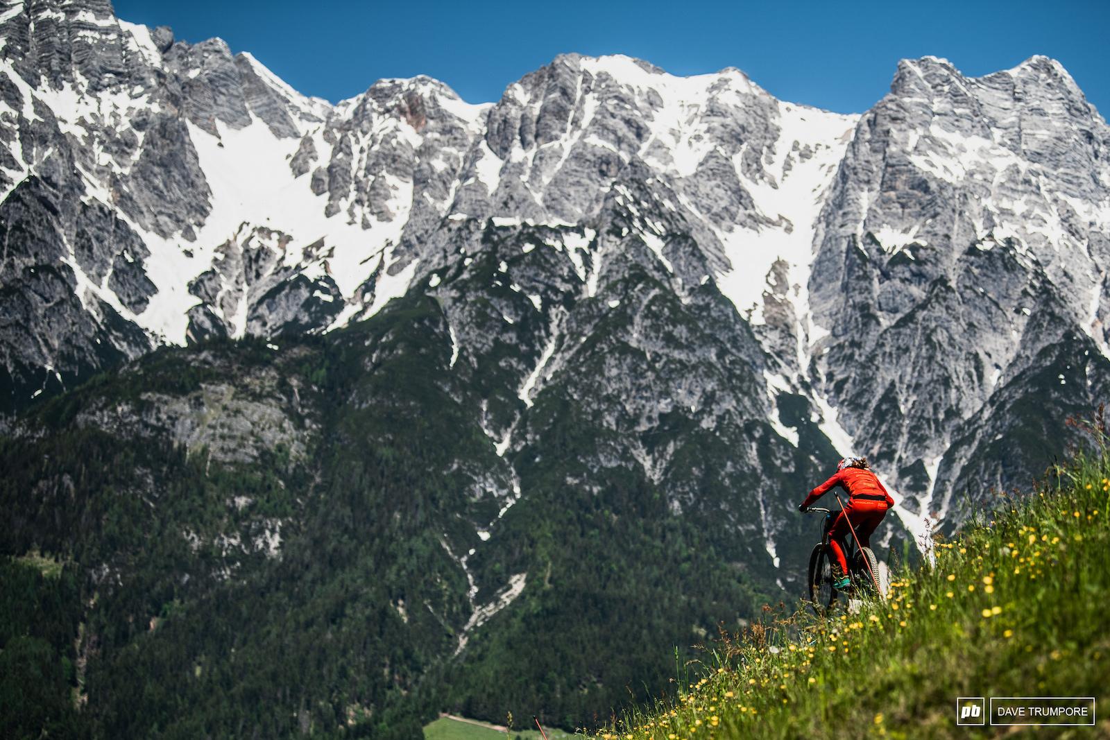 A big mountain and a small Rachel Atherton.