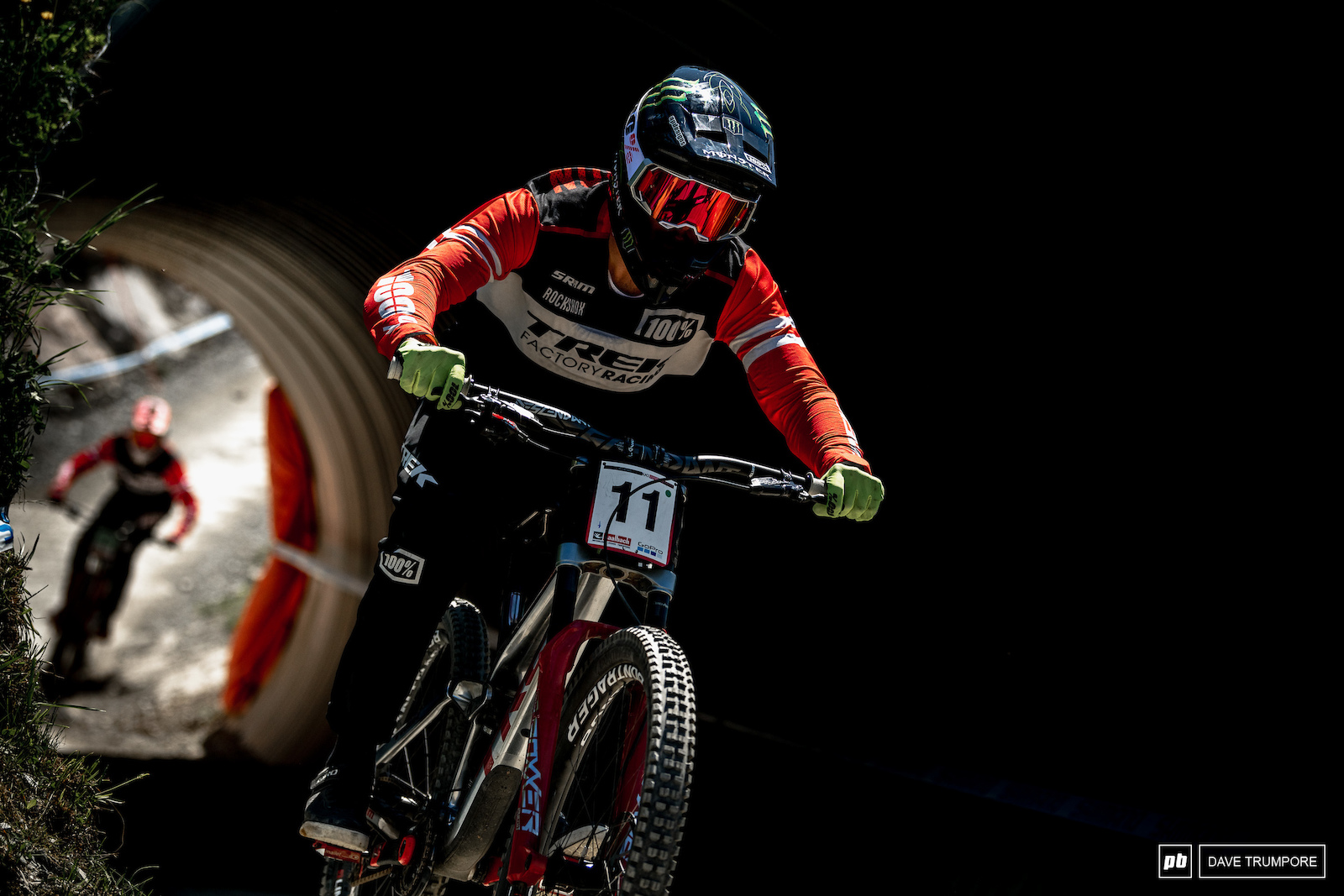 Charlie Harrison leads Ethan Shandro though the first of Leogang s many dark tunnels.