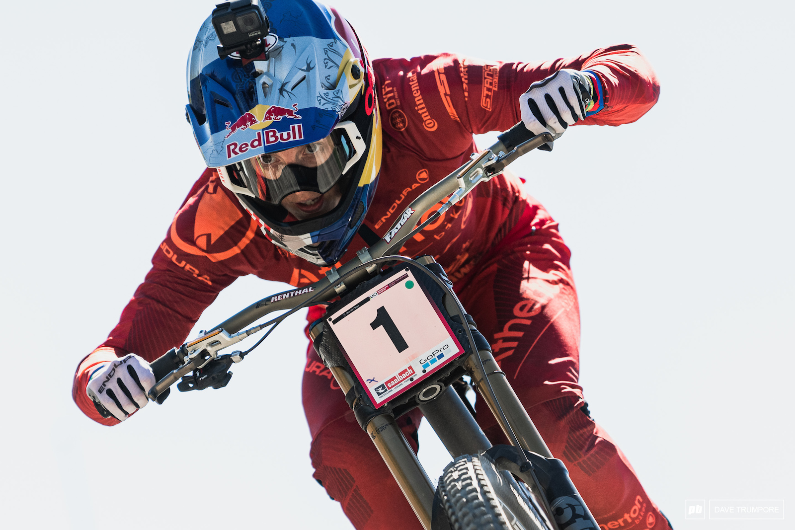 Rachel Atherton at full gas and looking way ahead as she speeds down the motorway section.