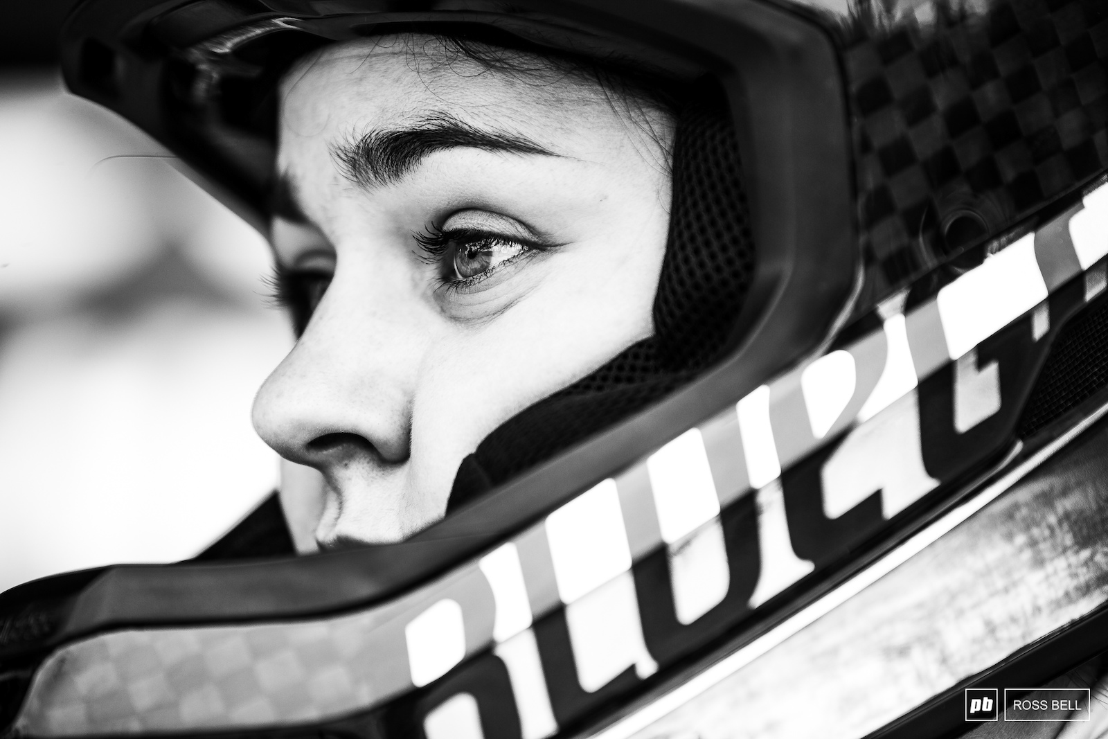 The thousand yard stare from Marine Cabirou as she awaits her turn in the start gate.