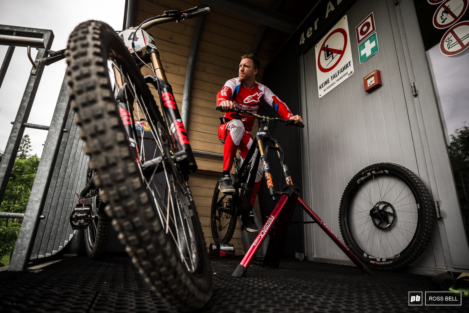 Aaron Gwin contemplates the upcoming 3 minute and 22 seconds once out the start gate.