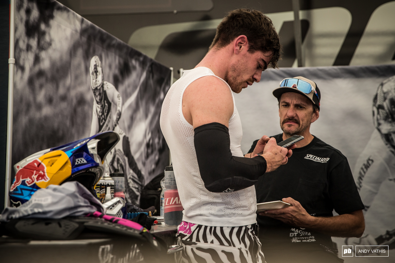 Loic Bruni conducting business on and off the bike.