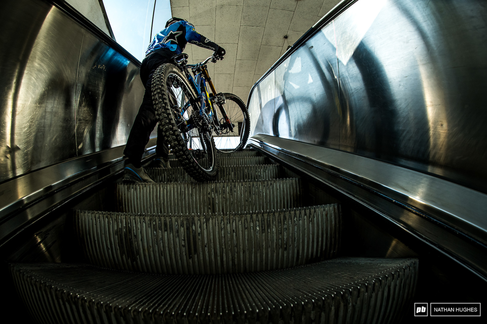 The only way is up. Joseph Foresta ride the elevator up to the lift for first laps.