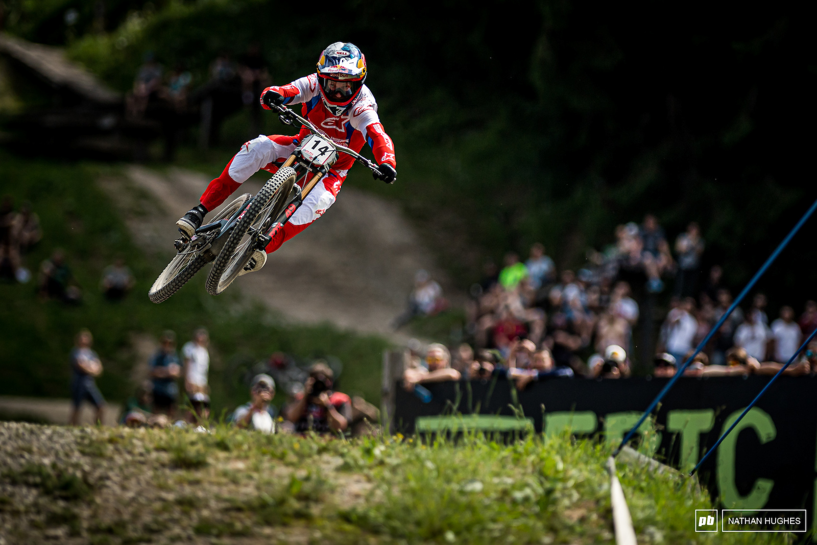 The 4 time Leogang destroyer Aaron Gwin 30 yards from the line.