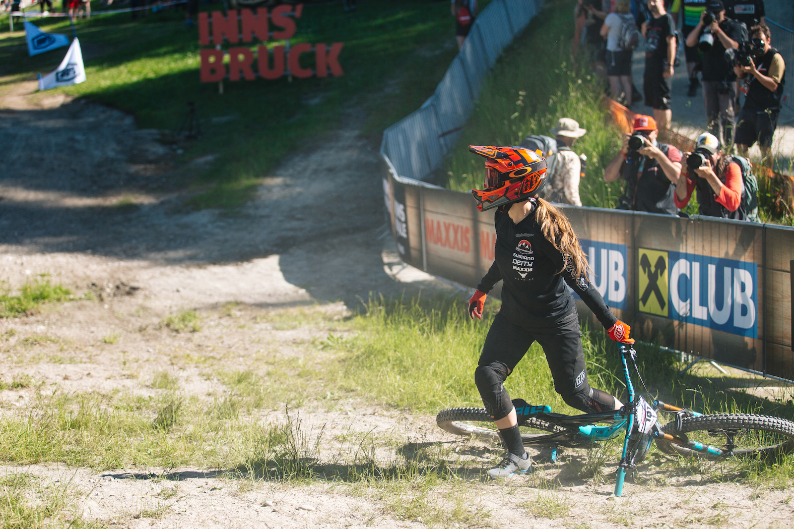 Vaea Verbeeck turning around to see the finals result during Dual Slalom.